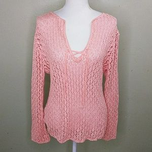 Peach Lacy Knit Tunic Length Sweater L NWT